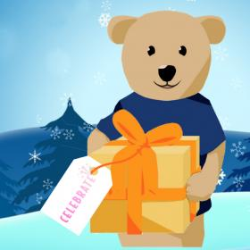 Drawing of Sunshine bear holding a gift