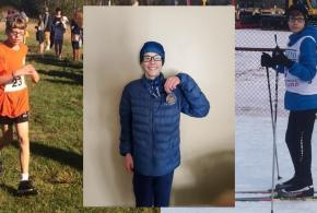 James running, with a medal, and xcountry skiing