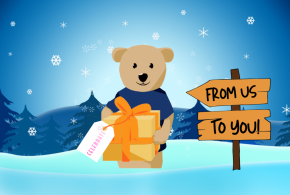 Blue winter background with Sunshine bear holding a gift